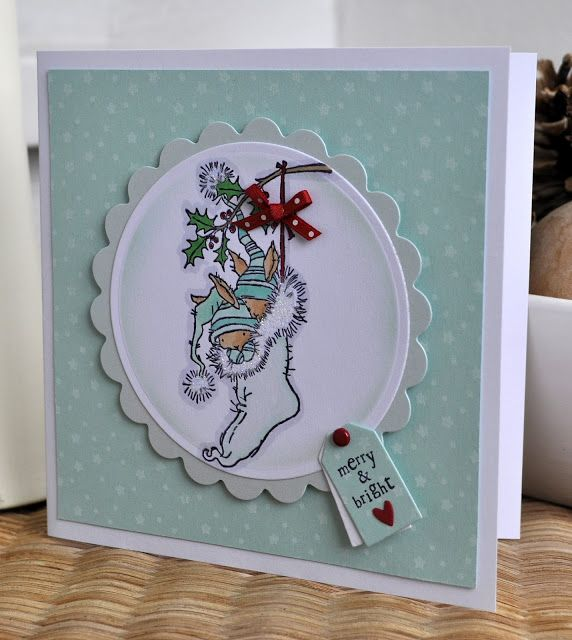 Cute Christmas card with a little bunny stocking stamp from Lily of the Valley stamps.