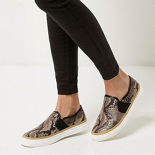 Beige snake print slip on plimsolls - plimsolls / trainers - shoes / boots - women