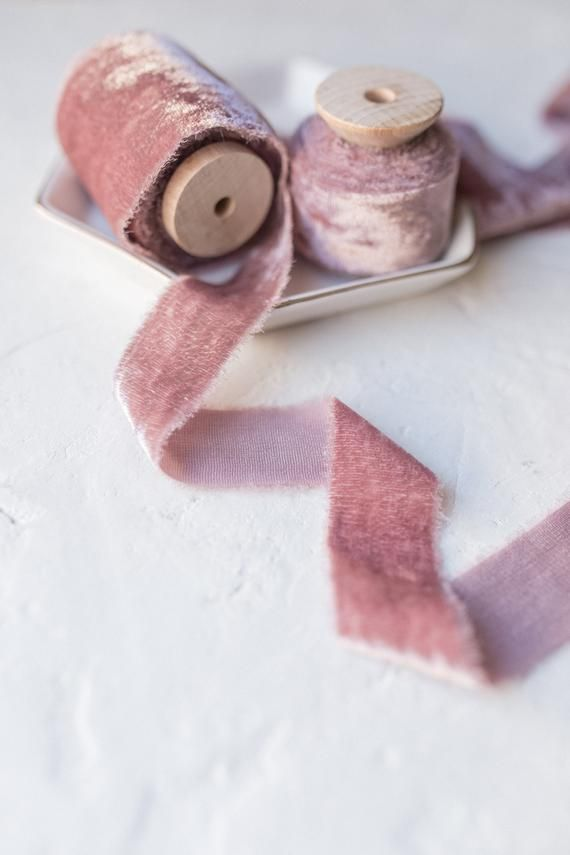 invitations; hand dyed; hand ripped; photography styling; Wedding Ribbon pink mauve flat lay Dusty Rose Silk Velvet Ribbon; Bridal Bouquet