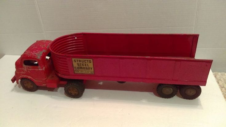 """Vintage 1950's Structo Steel Company Truck & Trailer 21"""" Red #Structo"""