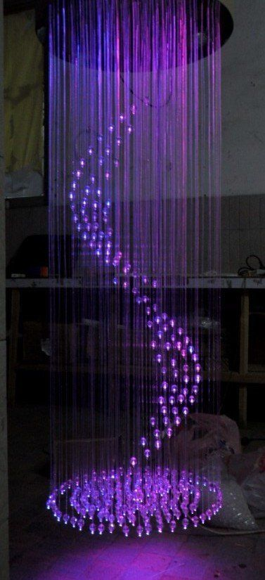 Purple optic fiber chandelier