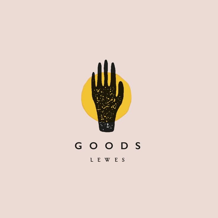Logo design for local lifestyle store in UK, Goods by graphic designer Rebecca Hawkes. Minimal, hand-drawn effect design