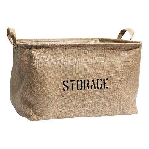 Medium or Large Jute Storage Bin for Toy Storage - Storage Basket for organizing Baby Toys, Kids Toys, Baby Clothing, Children Books, Gift Baskets.