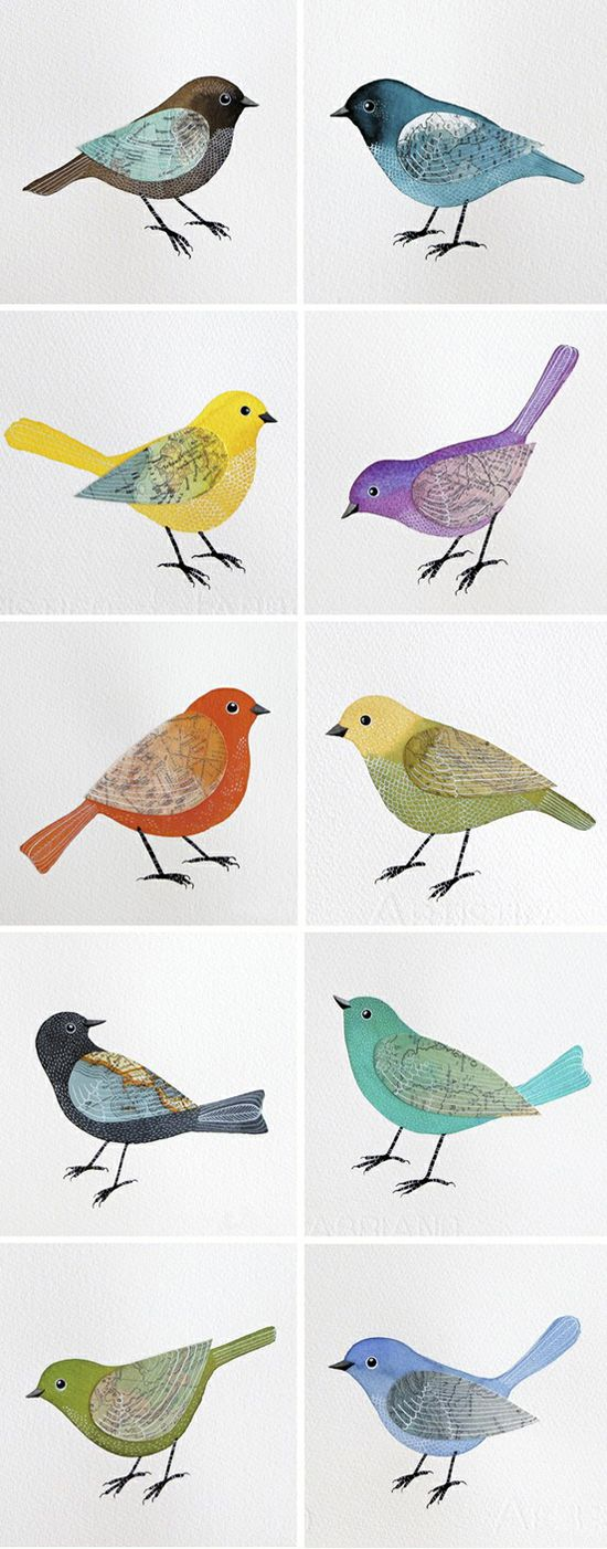 This IS IT! Hand drawn birds with water colors and fabric wings! Make them reminiscent of partridge family birds!