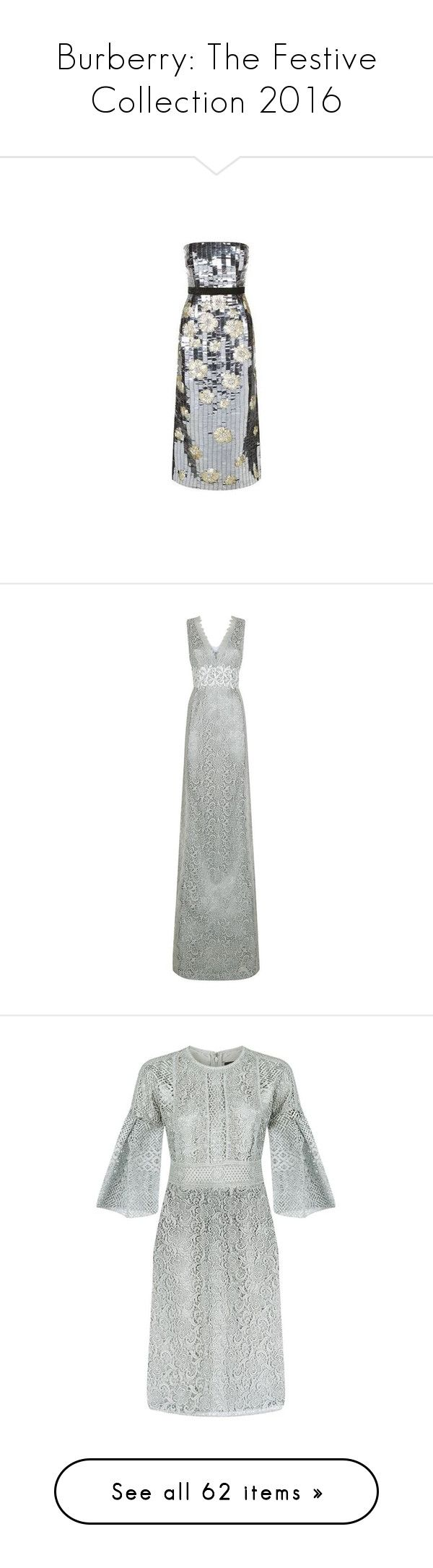 """""""Burberry: The Festive Collection 2016"""" by livnd ❤ liked on Polyvore featuring Burberry, livndfashion, livndburberry, dresses, burberry, vestido, silver sequin cocktail dress, silver cocktail dress, sequin dress and silver dress"""