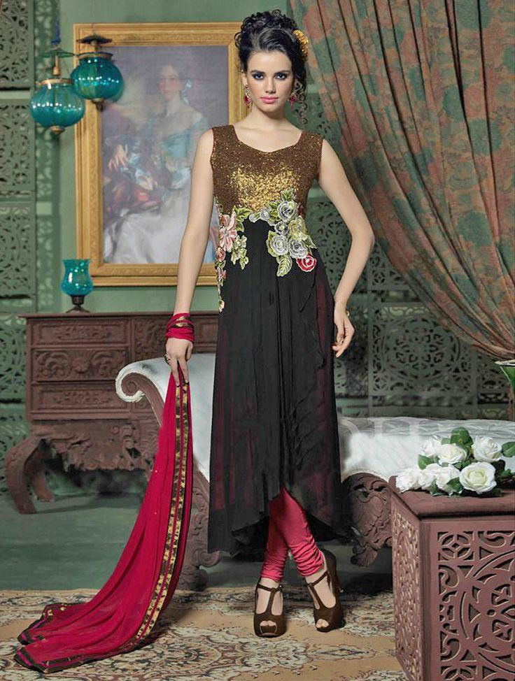 Become the dainty darling that you long to be in this black party wear salwar kameez, this elite party wear salwar suit beautifully enriched with heavy embroidery work. #Shopnow
