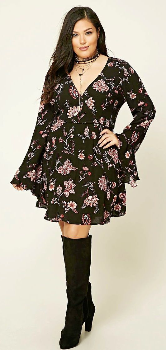 nice Plus Size Floral Mini Dress                                                     ...