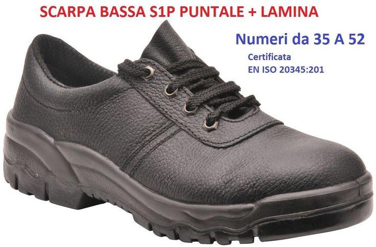 SCARPA BASSA nera pelle S1P uomo donna calzatura con puntale e lamina n. 35 a 52