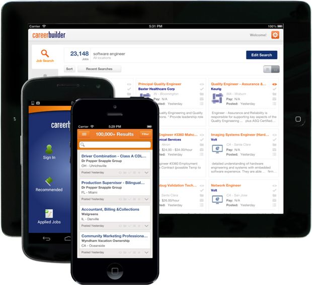 CareerBuilder App for iPhone and Android.
