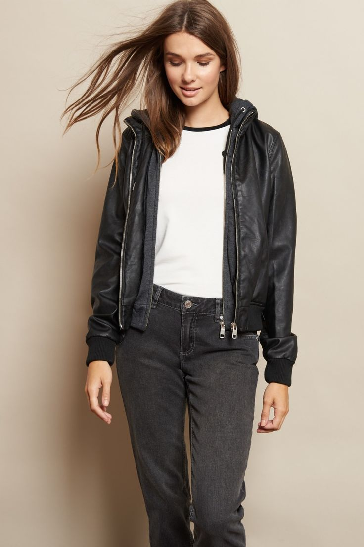 The IT fit of the season - Faux Leather Bomber Jacket ...