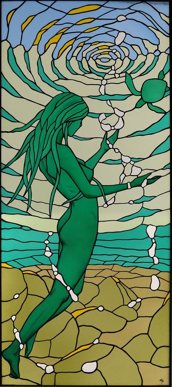 nude stained glass :Déesse de la mer/Sea-Goddess