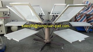silk screen printing machine: 6color manual Rotary Screen Printing Machine for t...