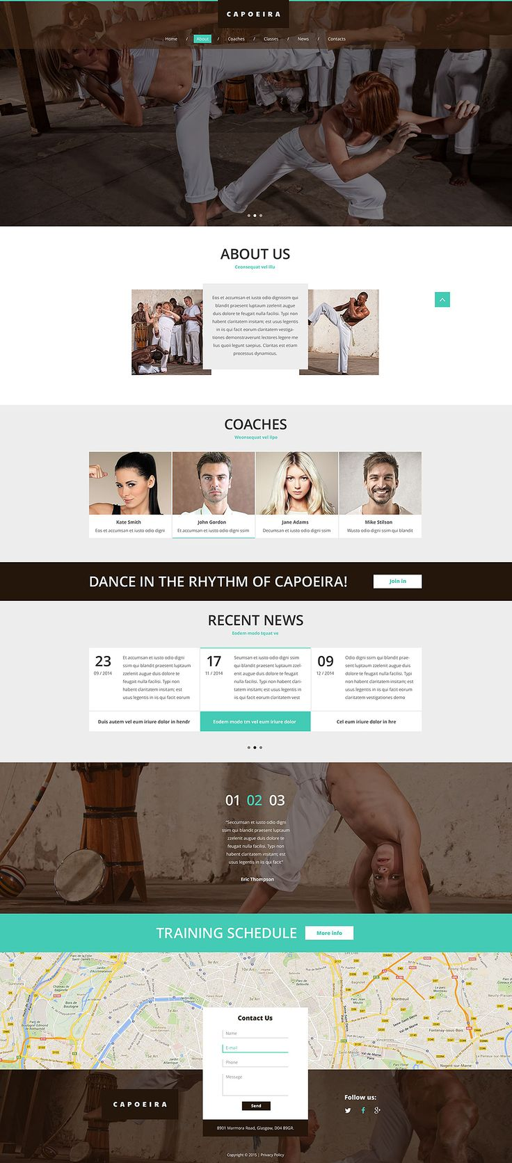 This sport web template can be adjusted