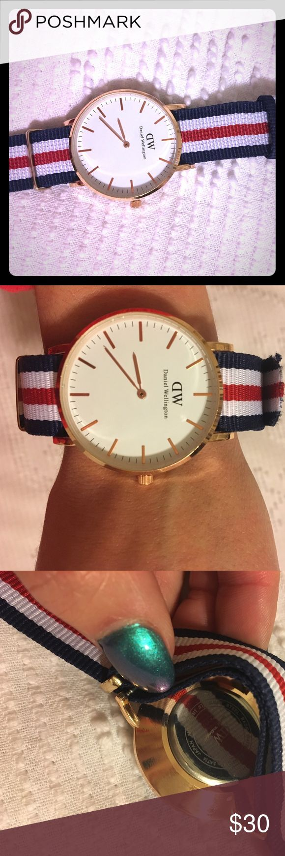 Daniel Wellington Watch This is a brand new Daniel Wellington watch. My husband bought me a new watch for Valentine's Day and told me to sell this one. I bought it from Mer and it did not come with a box. The seller assured me it was authentic, buy I'm not 100% sure, so the price reflects this!! Works perfect and has a huge face!!! Super cute watch!!! Daniel Wellington Accessories Watches