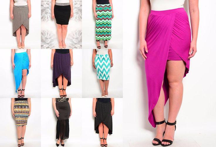Lot 6 Womens Skirt Multicolor Maxi Mini Stretch Career Work Casual Xl 2X 3X