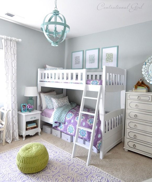 room decor with pottery barn kids brooklyn bedding - Google Search- jade frost paint color by glidden