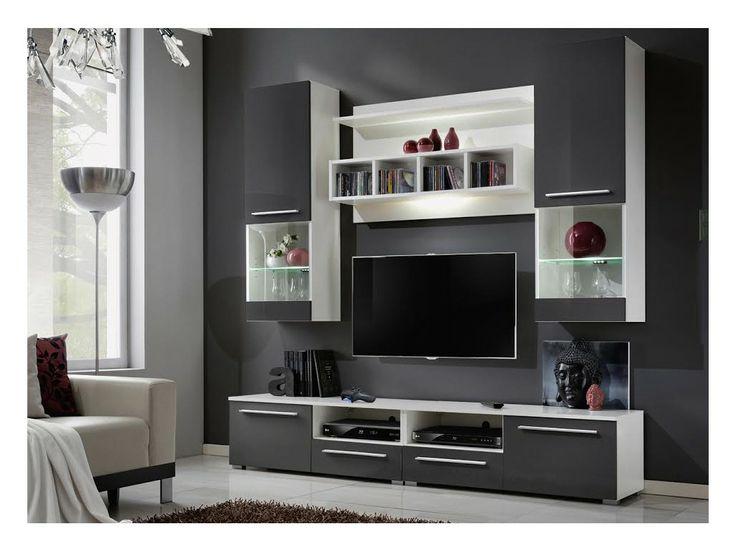 ensemble tv mural design high gloss gris et blanc - Meuble Tv Living