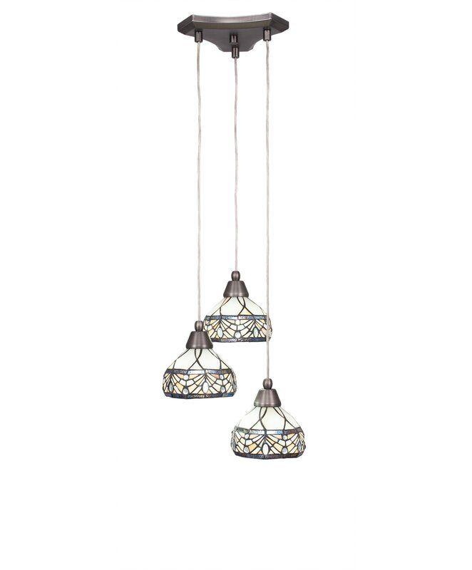 Nessa 3 Light Cluster Cone Pendant In 2021 Cone Pendant Light Tiffany Stained Glass