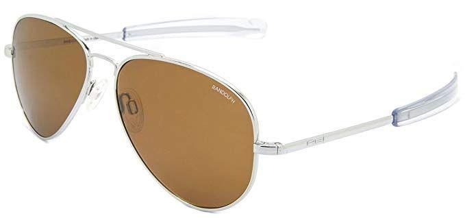 6a9887b338e Randolph Concorde Matte Chrome Bayonet Temple Tan Polarized Sunglasses  (57mm)