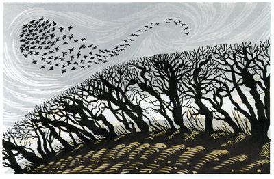 Niki Bowers - Winter Starlings, linocut