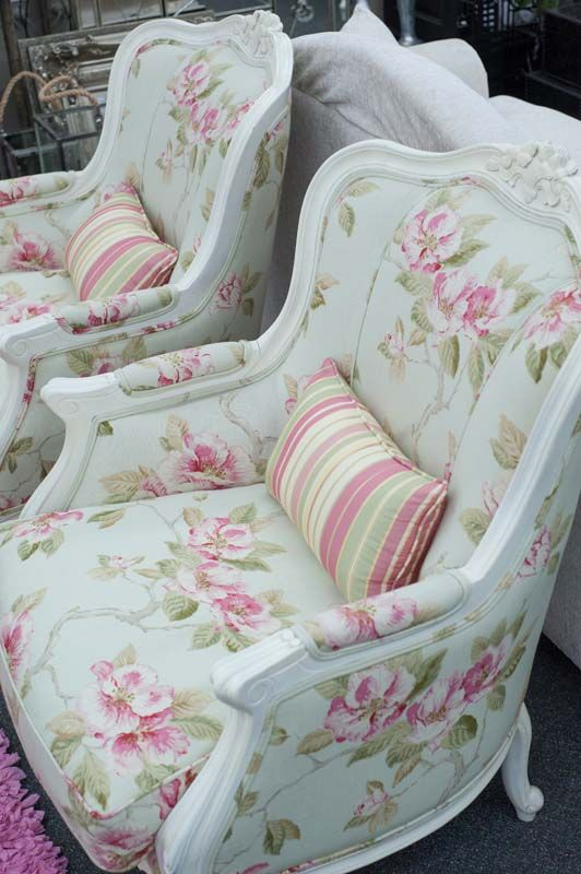 Love these chairs, but would definitely have them reupholstered because I don't do shabby - ever. Bleh...