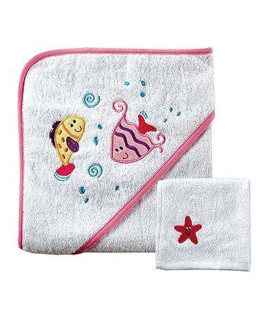 Look at this #zulilyfind! White & Pink Fishes Hooded Terry Towel & Washcloth #zulilyfinds