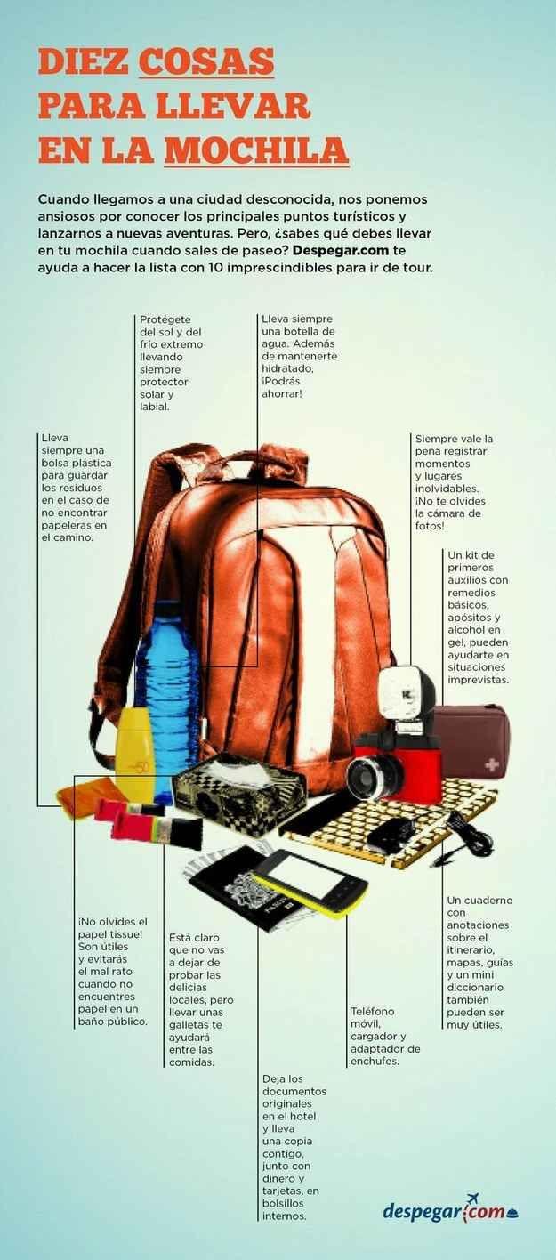 Y usa esta guía para empacar las cosas esenciales que debes mantener en tu mochila cuando sales de paseo.