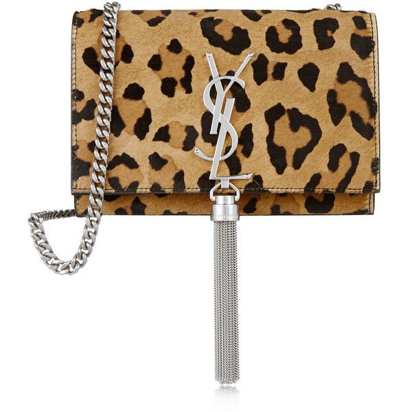 Saint Laurent Monogramme small leopard-print calf hair and leather... (€1.165) ❤ liked on Polyvore featuring bags, handbags, shoulder bags, bolsas, clutches, cell phone shoulder bag, leather handbags, leopard shoulder bag, leather shoulder bag and leopard print purse
