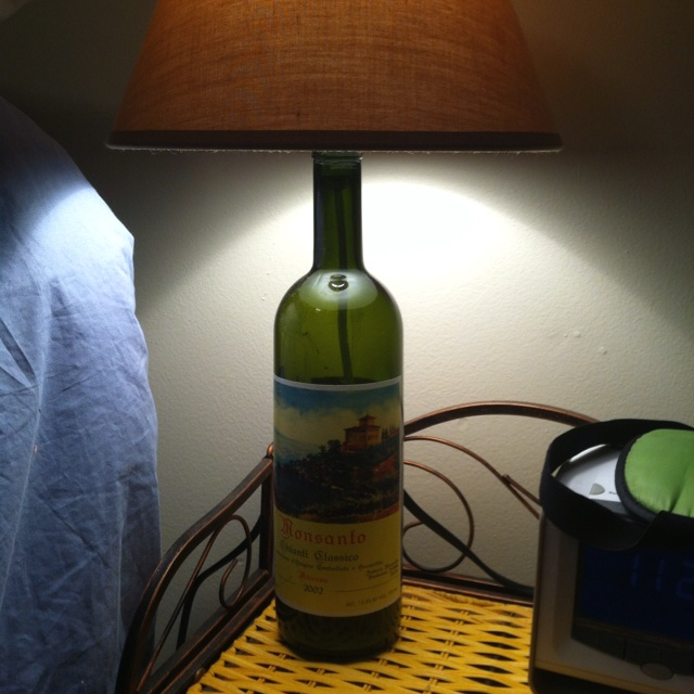 Turned one of my favorite wine bottles into a bedside lamp. :)