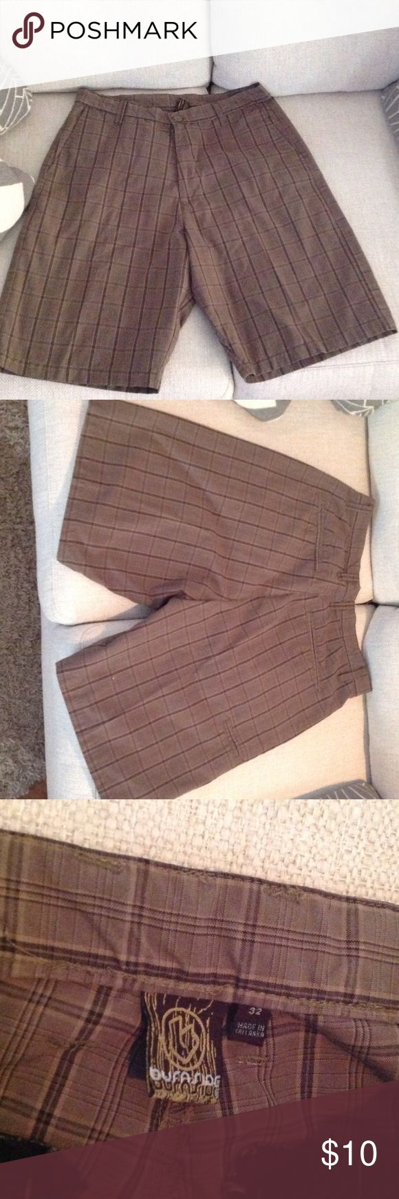 "😎MEN'S  DRESS SHORTS 😎EXCELLENT CONDITION!! NO STAINS OR RIPS.  BROWN COLORED PLAID 22-1/2"" LONG.  60%COTTON/40%POLY Burnside Shorts Flat Front"
