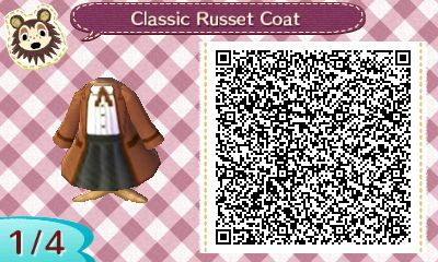 Classic Russet Coat - Animal Crossing New Leaf QR Code                                                                                                                                                                                 Más