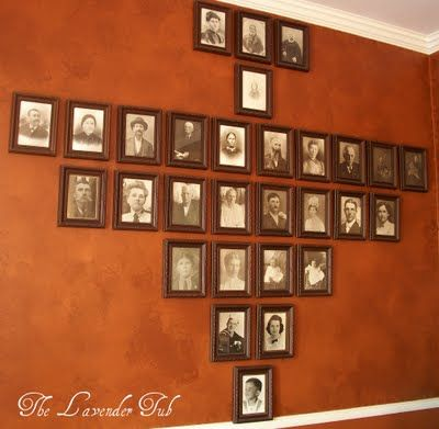 Family History wall -- I'm so tempted to do this in a miniature version and copy the older pictures, tint the sepia to a dark color, and make a family rainbow or color-gradient tree. Ending with Baby Stardust, of course.