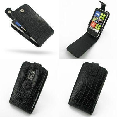 PDair Leather Case for Nokia Lumia 620 - Flip Top Type (Black/Crocodile Pattern)