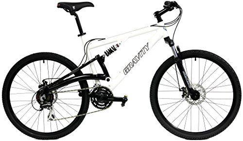 Gravity FSX 1.0 Dual Full Suspension Mountain Bike Shimano Suntour (White, 17in) - http://www.bicyclestoredirect.com/gravity-fsx-1-0-dual-full-suspension-mountain-bike-shimano-suntour-white-17in/