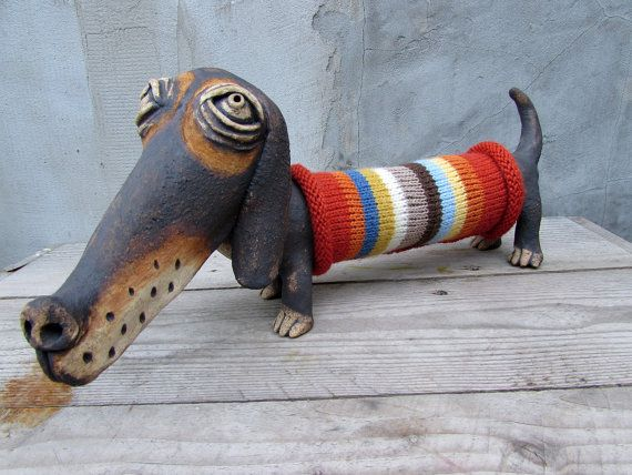 Ceramic dachshund in a hand knitted striped by HomeyCreatures