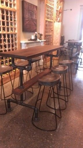 Free Shipping for February!  Industrial Farmhouse Bar Height Kitchen Table on Etsy, $625.00