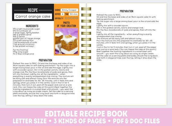 Recipe Book Template Pdf Doc Editable Pages Printable Cook Page Ed
