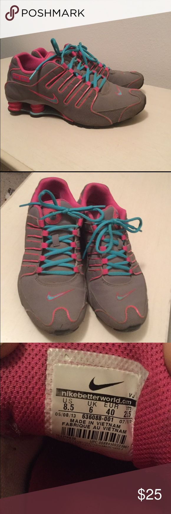Size 8.5 Nike Shocks Grey, pink, and blue Nike shoes. GREAT condition. Nike Shoes Athletic Shoes