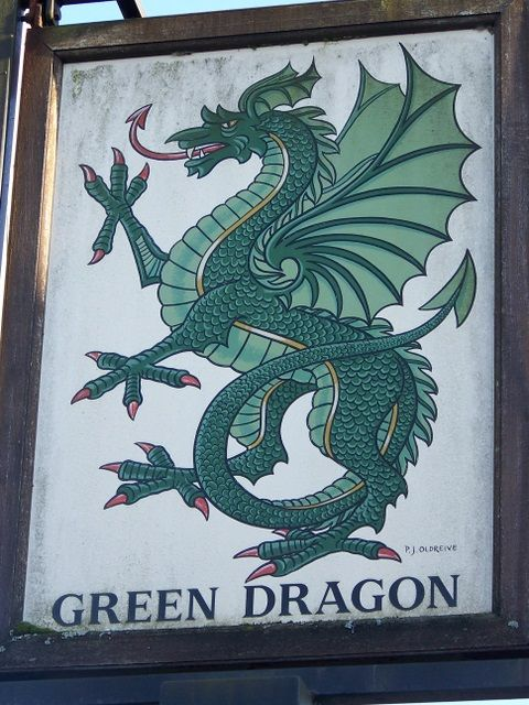 Green Dragon pictorial sign. Northlew, Devon, UK. OMG it really exists!! Green dragon ...mmmmm