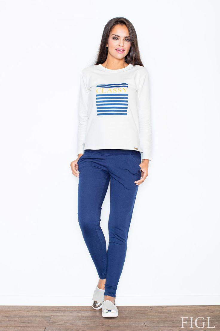 Sportowa bluza Bluza Cassy + Niebieskie spodnie Denise do kompletu➞ Figl w sklepie Olive.pl #zakypy #moda #kobieta #spodnie #sport #bluza #bluzka #figl #Cassy #Denis #olive