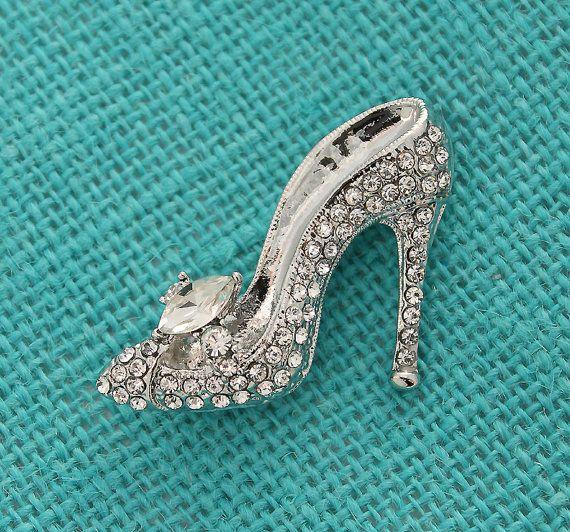Cinderella Shoe Brooch Crystal Rhinestone Brooch Wedding
