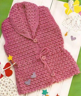 Chaleco de bebe tejido a crochet es el abrigo ideal chaleco sin mangas tejido con crochet OjoconelArte.cl |