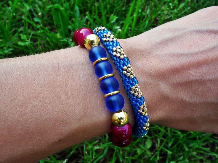 Set of 2 bracelets Gift September birthstone Beaded crochet rope Jewelry sets Sapphire Birthsone Beaded Bracelets. by MadeByJoLis on Etsy