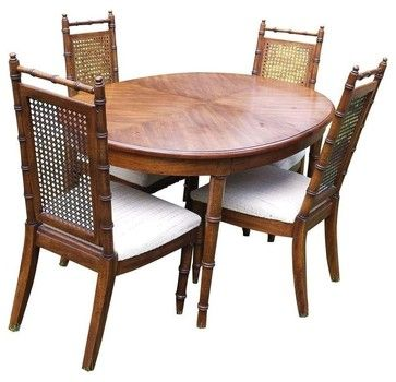 Pre-owned American of Martinsville Faux Bamboo Dining Table beach-style-dining-sets