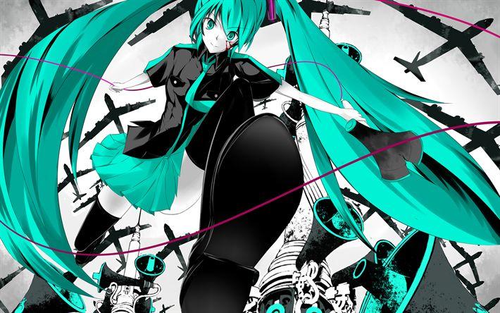 Hämta bilder 4k, Hatsune Miku, anime karaktärer, grönt hår, Vocaloid