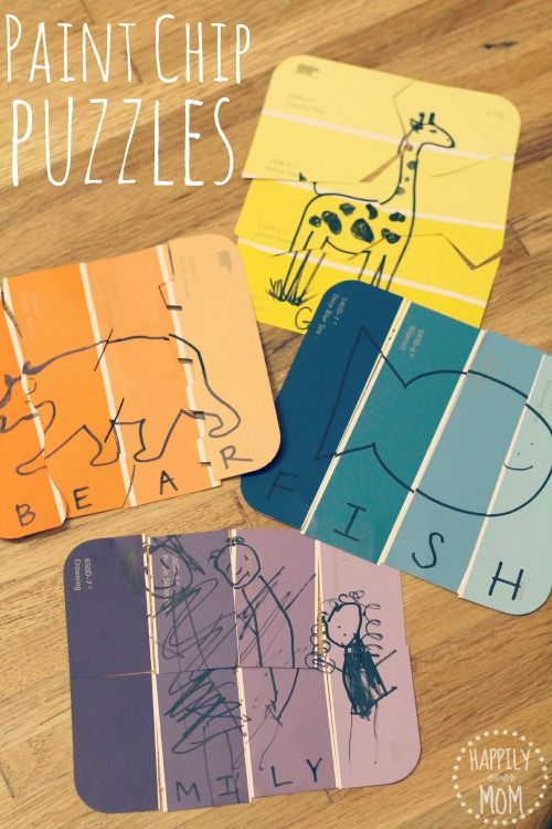 DIY Paint Chip Puzzles for Kids from Happily Ever Mom
