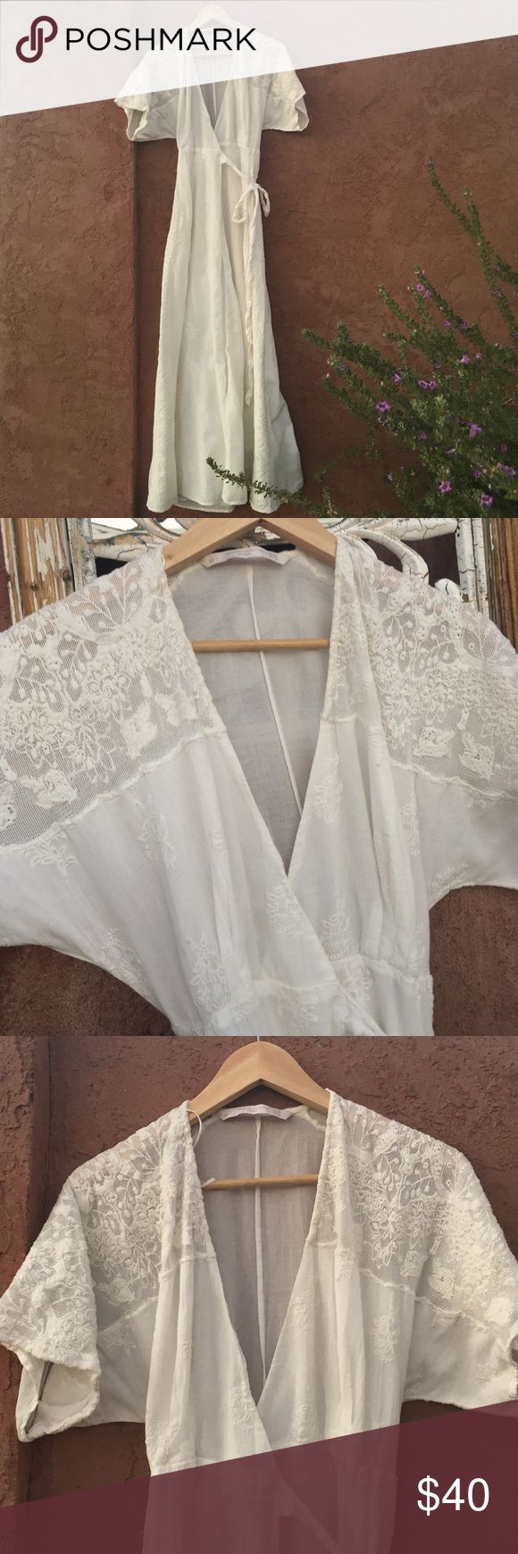 Zara Cream Dress-Ready for Coachella! Gorgeous Zara Trafaluc Collection wrap dress. Can be worn as a robe, too! Small hole in the lace, near the back of the neck (noted in the pic). Perfect for your next festival! Zara Dresses