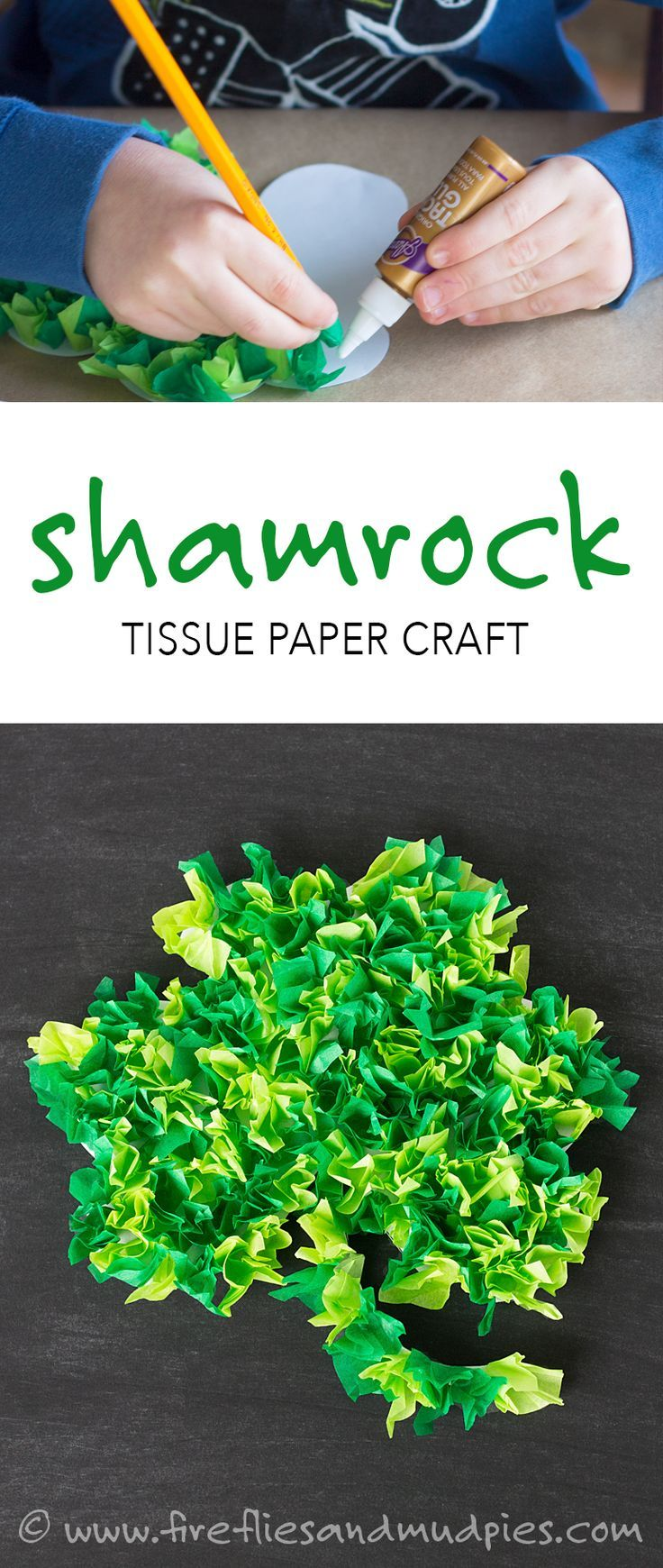 St patricks day preschool crafts - Fun St Patrick S Day Craft For Kids Shamrock Tissue Paper Craft With A