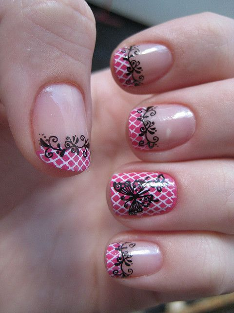 Nail Art - pink and white french tips with black lace design