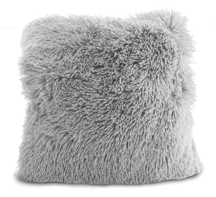 Chlupaté luxusní povlaky na polštář šedé barvy
